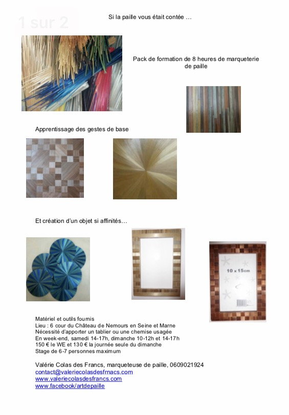 2017 pack formation actualite marqueterie paille straw marquetry valerie colas des francs